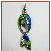 Modernist Sterling Enamel Fish Pendant