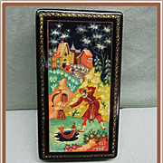SALE Russian Lacquer Box Mstera Ice Fisherman