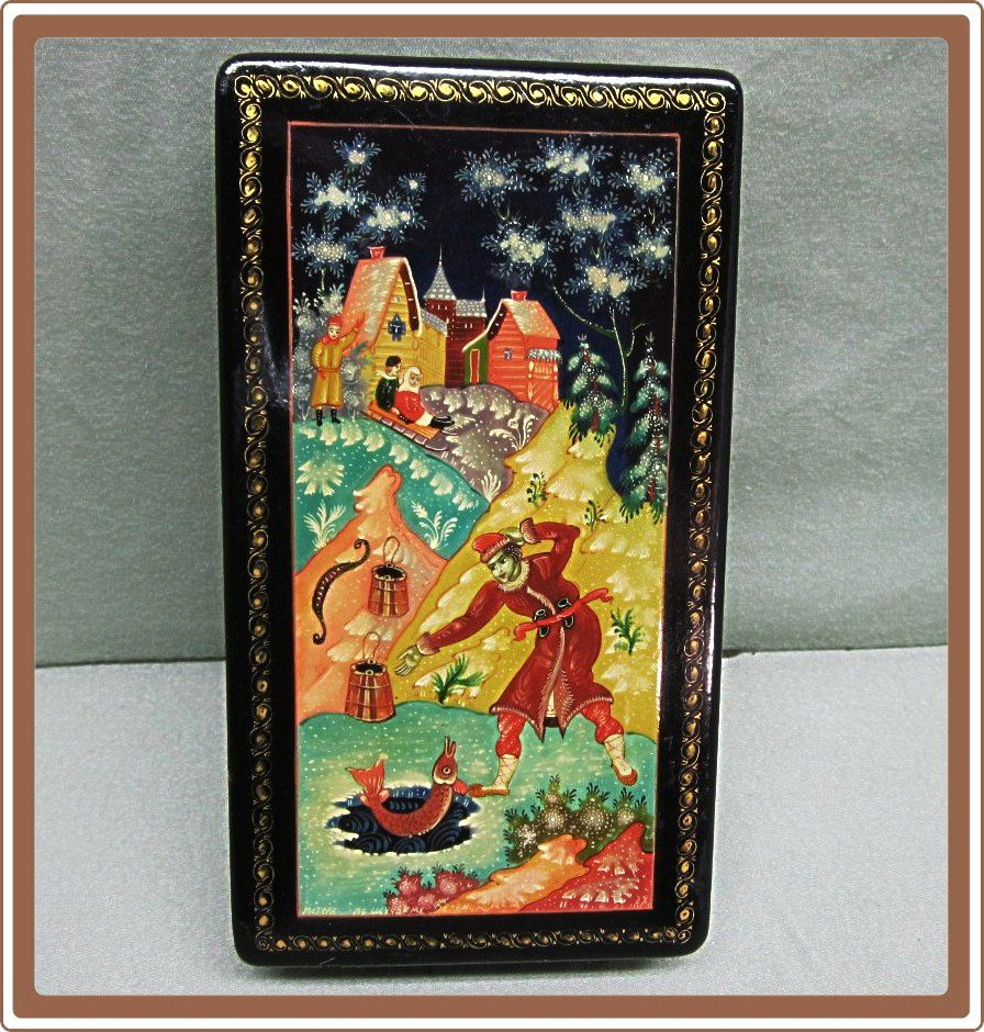 Russian Lacquer Box Mstera Ice Fisherman