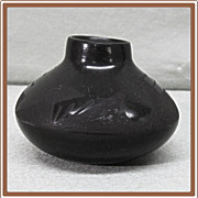 Small Black on Black  Pottery Pot signed RPL