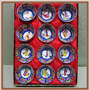 SALE Japanese China Sake Cups Geisha Girl in Original Box
