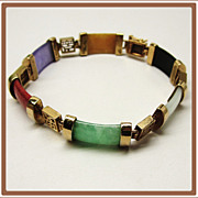 SALE PENDING Multi Color Jade and Gemstone Link Bracelet
