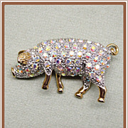 Trotting Rhinestone Pig Pin Pink Aurora Borealis