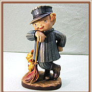 Anri Ferrandiz Wood Figure The Sweeper 6 inch