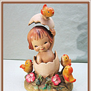 Anri Ferrandiz Girl in the Egg Wood Figure 6 inch