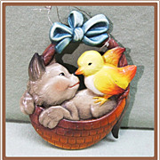 Anri Ferrandiz Christmas Ornament Cat and Canary in Basket