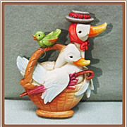 Anri Ferrandiz Christmas Ornament Goose in  Basket
