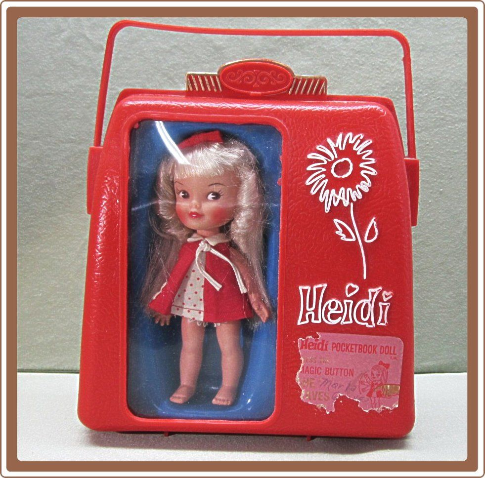 1960's Remco Doll Heidi Pocketbook with Case and Wardrobe