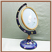 SALE Chinese Cloisonne Revolving Frame with Silk Embroidery