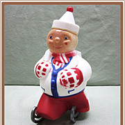 1950's Plastic Jolly Skater Christmas Candy Container on Skates