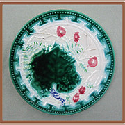 Majolica Plate Greek Key Border Ferns and Flowers
