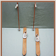 Vintage Doll Skis Boots and Poles