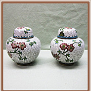 Chinese Cloisonne Pair Covered Jars Original Case