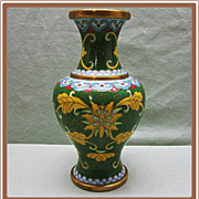 Cloisonne Vase Green and Yellow Florals
