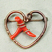 SALE Branch Coral Gold Filled Heart Pin