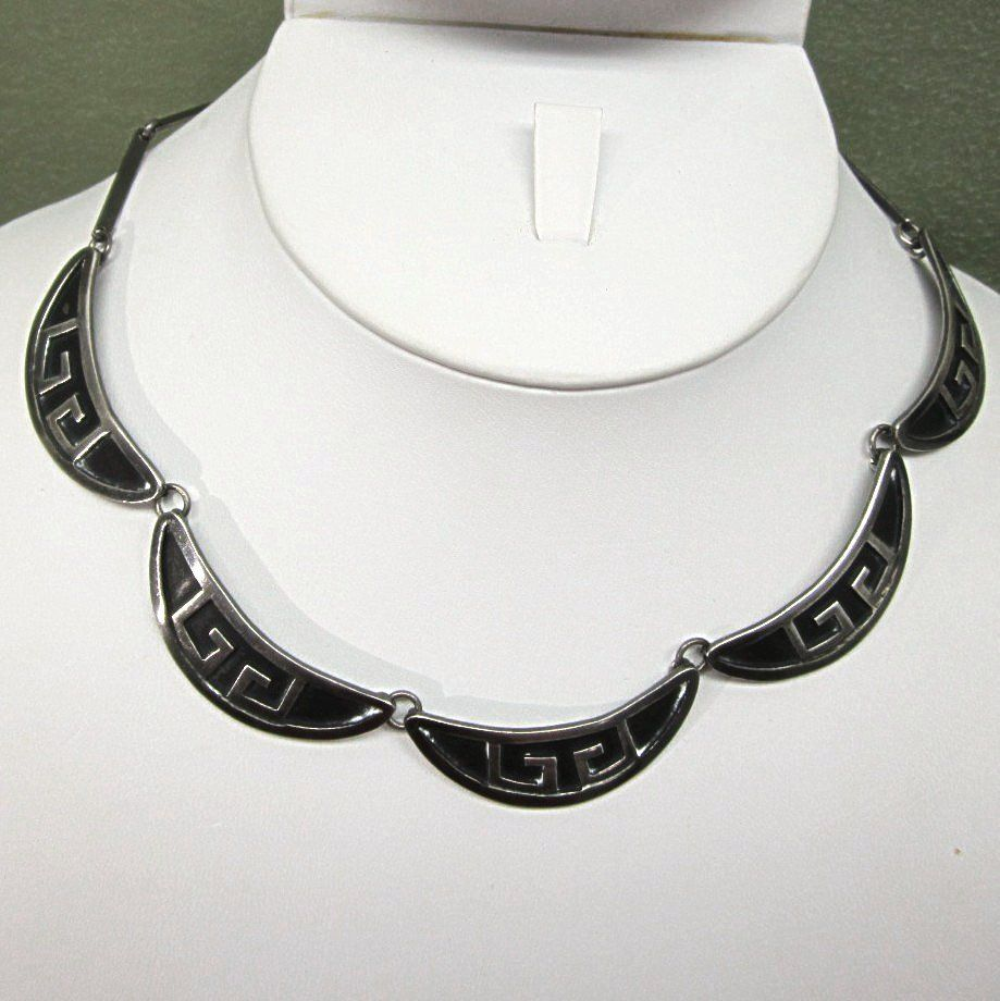 Taxco Mexico Sterling Silver Modernist Necklace Signed FNM