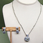 Signed Swarovski Blue Crystal Necklace and Earrings Vintage