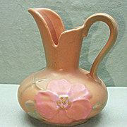 Weller Art Pottery Ewer or Pitcher Wild Rose Pattern