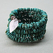 Vintage Turquoise Nugget Coiled Wire Memory Bracelet