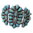 Sterling Turquoise Cluster Bracelet Native American Artist Signed
