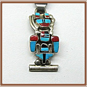 Vintage Sterling and Turquoise Watch Band Kachina