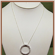 Sterling Silver Eternity Circle Pendant Necklace Italy