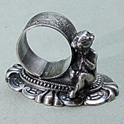 Old Silverplate Figural Napkin Ring Putti Cherub