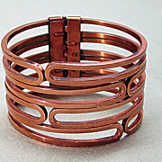 SALE Modernist Renoir Copper Clamper Cuff Bracelet
