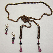 Vintage Mesh Lariat Necklace Purple Glass Drops with Matching Earrings