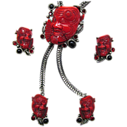 Selro Red Noh Mask Lariat Necklace and Earrings