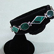 SALE Vintage Sterling 970 Silver and Inlaid Malachite Bracelet