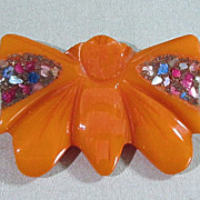 SALE Butterscotch Bakelite Butterfly Clip
