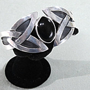 Sterling Silver Onyx Cuff Bracelet From Mexico Celtic Design