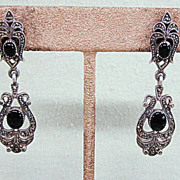 Sterling Silver Marcasite and Onyx Long Drop Dangly Earrings