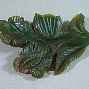 SALE Big Carved Bakelite Flower Pin Green