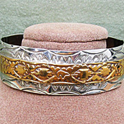 Navajo Sterling Mixed Metals Cuff Bracelet Signed BB