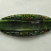Carved Bakelite Pin Marbled Green Flowers