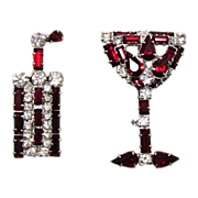 SALE Retro Rhinestone Cocktail Pin Set Weiss
