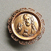 Very Old Gold Filled Medal Pin Sacred Heart of Jesus