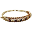 14K Gold Garnet Rope Design Hinged Bangle Bracelet Original Case