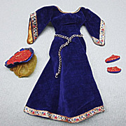 SALE PENDING Vintage Barbie Doll Outfit Guinevere Royal Blue Velvet