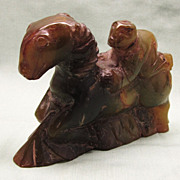 Vintage Chinese Hardstone Carving Man on Lamb