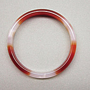 Vintage Asian Hardstone Bangle Bracelet Amber White