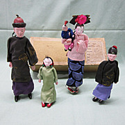 SALE 1930's Chinese Doll Family Composition Original Box
