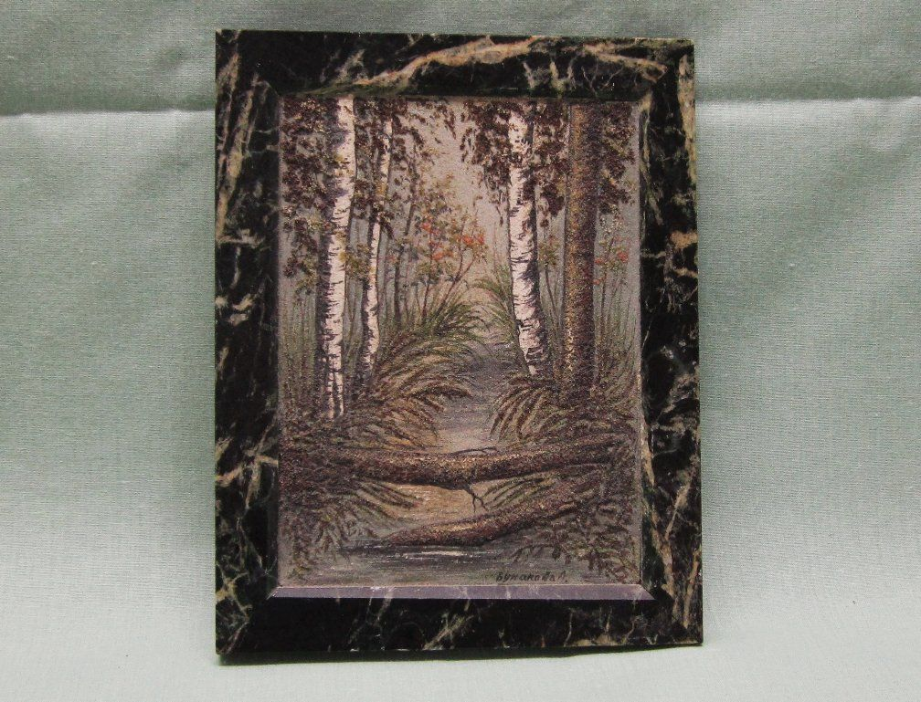 Russian Crushed Stone Miniature Painting on Marble