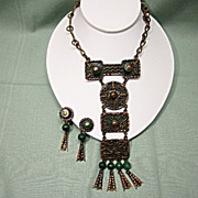 Casa Maya Mexico Copper and Green Stone Necklace and Earrings