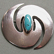 Large Sterling Silver and Turquoise Pin Modernistic