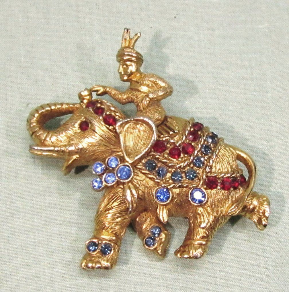 Hattie Carnegie Rhinestone Elephant Pin Brooch