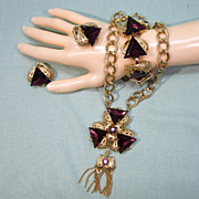 Purple Triangle Rhinestone Parure Necklace Bracelet Earrings