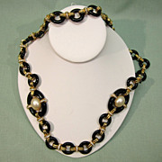 Ciner Black Glass Faux Pearl Rhinestone Necklace
